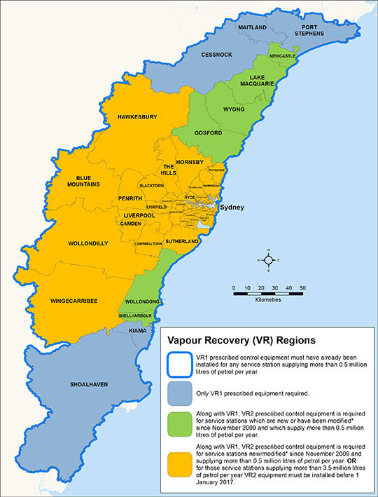 Image - map vapour recovery regions