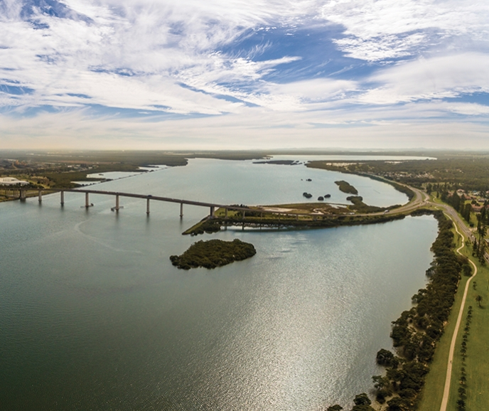 aerial view Stockton bridge