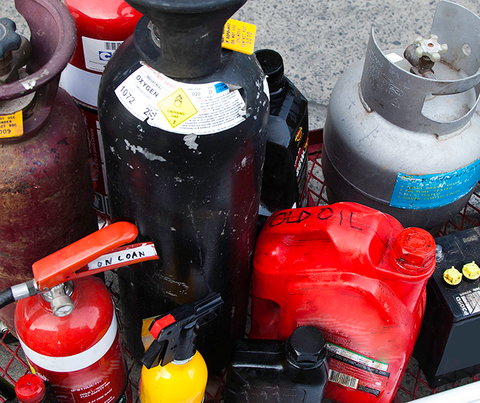 Problem waste items including fire extinguishers and gas bottles