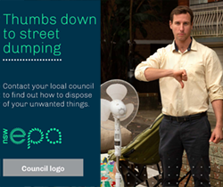 facebook ad -a man gesturing thumbs down beside an old chair and fan. Text reads thumbs down to street dumping