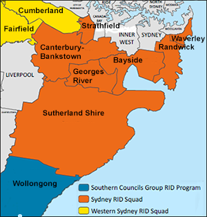map showing Sydney Rid Squad areas