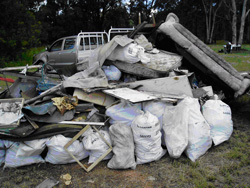 Illegally dumped waste ready for disposal