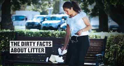 woman dropping food containers on park bench. Text reads the dirty facts about litter