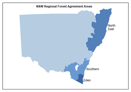 Map of NSW showing regional forest agreement areas