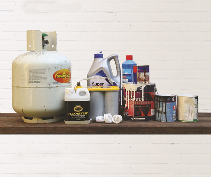 items accepted at chemical cleanout including gas bottles, leftover paint, oil, chemicals, fluorescent globes