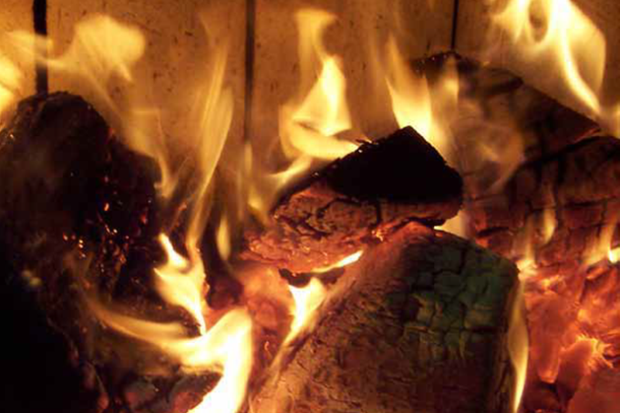 flames and embers in a log fire