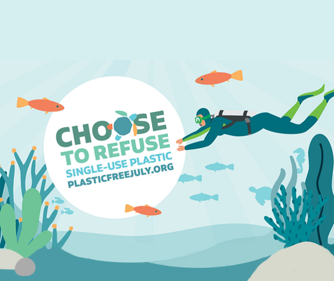 Graphic of an underwater scene showing a scuba diver and fish with the slogan Choose to refuse single-use plastic. Plasticfreejuly.org