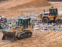 bulldozers on a landfill site