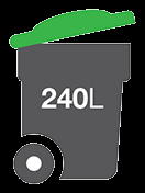 graphic of a 240L green lid bin