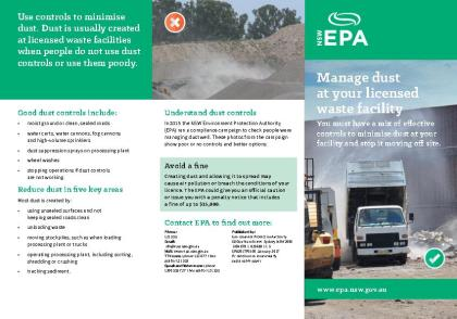 Cover of Manage dust at your licensed waste facility