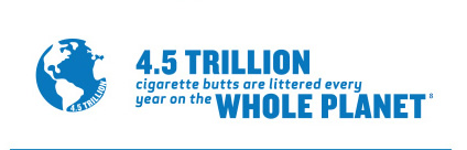 4.5 trillion cigarette butts are littered every year on the whole planet