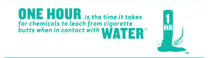 One hour is the time it takes for chemicals to leach from cigarette butts when in contact with water